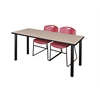 "60"" x 24"" Kee Training Table- Beige/ Black & 2 Zeng Stack Chairs- Burgundy"