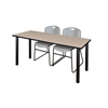 "60"" x 24"" Kee Training Table- Beige/ Black & 2 Zeng Stack Chairs- Grey"