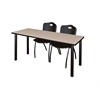 "60"" x 24"" Kee Training Table- Beige/ Black & 2 'M' Stack Chairs- Black"