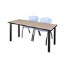 "60"" x 24"" Kee Training Table- Beige/ Black & 2 'M' Stack Chairs- Grey"