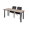 "60"" x 24"" Kee Training Table- Beige/ Black & 2 Mario Stack Chairs- Black"
