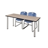 "60"" x 24"" Kee Training Table- Beige/ Chrome & 2 Zeng Stack Chairs- Blue"