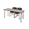 "60"" x 24"" Kee Training Table- Beige/ Chrome & 2 Zeng Stack Chairs- Black"