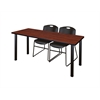 "60"" x 24"" Kee Training Table- Cherry/ Black & 2 Zeng Stack Chairs- Black"