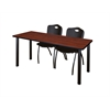 """60"""" x 24"""" Kee Training Table- Cherry/ Black & 2 'M' Stack Chairs- Black"""