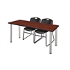"""60"""" x 24"""" Kee Training Table- Cherry/ Chrome & 2 Zeng Stack Chairs- Black"""