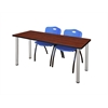 """60"""" x 24"""" Kee Training Table- Cherry/ Chrome & 2 'M' Stack Chairs- Blue"""