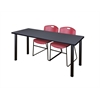 "60"" x 24"" Kee Training Table- Grey/ Black & 2 Zeng Stack Chairs- Burgundy"