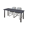 "60"" x 24"" Kee Training Table- Grey/ Black & 2 Zeng Stack Chairs- Grey"
