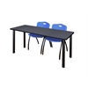 "60"" x 24"" Kee Training Table- Grey/ Black & 2 'M' Stack Chairs- Blue"
