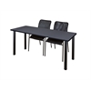 "60"" x 24"" Kee Training Table- Grey/ Black & 2 Mario Stack Chairs- Black"