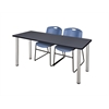 "60"" x 24"" Kee Training Table- Grey/ Chrome & 2 Zeng Stack Chairs- Blue"
