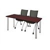 "60"" x 24"" Kee Training Table- Mahogany/ Chrome & 2 Apprentice Chairs- Black"