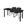 "60"" x 24"" Kee Training Table- Mocha Walnut/ Black & 2 Zeng Stack Chairs- Black"