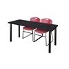 "60"" x 24"" Kee Training Table- Mocha Walnut/ Black & 2 Zeng Stack Chairs- Burgundy"