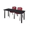 "60"" x 24"" Kee Training Table- Mocha Walnut/ Black & 2 'M' Stack Chairs- Burgundy"