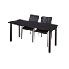 "60"" x 24"" Kee Training Table- Mocha Walnut/ Black & 2 Mario Stack Chairs- Black"