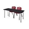 "60"" x 24"" Kee Training Table- Mocha Walnut/ Chrome & 2 'M' Stack Chairs- Burgundy"