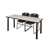 "60"" x 24"" Kee Training Table- Maple/ Black & 2 Zeng Stack Chairs- Black"