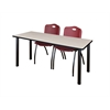 """60"""" x 24"""" Kee Training Table- Maple/ Black & 2 'M' Stack Chairs- Burgundy"""