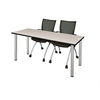 "60"" x 24"" Kee Training Table- Maple/ Chrome & 2 Apprentice Chairs- Black"