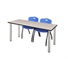 """60"""" x 24"""" Kee Training Table- Maple/ Chrome & 2 'M' Stack Chairs- Blue"""