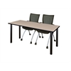 "66"" x 24"" Kee Training Table- Beige/ Black & 2 Apprentice Chairs- Black"