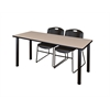 "66"" x 24"" Kee Training Table- Beige/ Black & 2 Zeng Stack Chairs- Black"