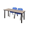 "66"" x 24"" Kee Training Table- Beige/ Black & 2 'M' Stack Chairs- Blue"