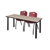 "66"" x 24"" Kee Training Table- Beige/ Black & 2 'M' Stack Chairs- Burgundy"