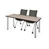 """66"""" x 24"""" Kee Training Table- Beige/ Chrome & 2 Apprentice Chairs- Black"""
