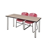 "66"" x 24"" Kee Training Table- Beige/ Chrome & 2 Zeng Stack Chairs- Burgundy"
