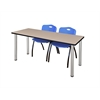 """66"""" x 24"""" Kee Training Table- Beige/ Chrome & 2 'M' Stack Chairs- Blue"""