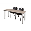 "66"" x 24"" Kee Training Table- Beige/ Chrome & 2 'M' Stack Chairs- Black"
