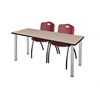 "66"" x 24"" Kee Training Table- Beige/ Chrome & 2 'M' Stack Chairs- Burgundy"