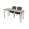 "66"" x 24"" Kee Training Table- Beige/ Chrome & 2 Mario Stack Chairs- Black"