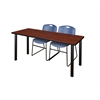 "66"" x 24"" Kee Training Table- Cherry/ Black & 2 Zeng Stack Chairs- Blue"