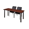 "66"" x 24"" Kee Training Table- Cherry/ Black & 2 Mario Stack Chairs- Black"