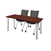 """66"""" x 24"""" Kee Training Table- Cherry/ Chrome & 2 Apprentice Chairs- Black"""