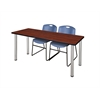 "66"" x 24"" Kee Training Table- Cherry/ Chrome & 2 Zeng Stack Chairs- Blue"
