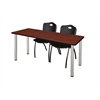 "66"" x 24"" Kee Training Table- Cherry/ Chrome & 2 'M' Stack Chairs- Black"
