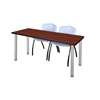 "66"" x 24"" Kee Training Table- Cherry/ Chrome & 2 'M' Stack Chairs- Grey"