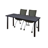 """66"""" x 24"""" Kee Training Table- Grey/ Black & 2 Apprentice Chairs- Black"""