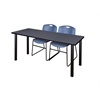 """66"""" x 24"""" Kee Training Table- Grey/ Black & 2 Zeng Stack Chairs- Blue"""