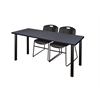"66"" x 24"" Kee Training Table- Grey/ Black & 2 Zeng Stack Chairs- Black"