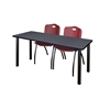 "66"" x 24"" Kee Training Table- Grey/ Black & 2 'M' Stack Chairs- Burgundy"