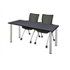 "66"" x 24"" Kee Training Table- Grey/ Chrome & 2 Apprentice Chairs- Black"