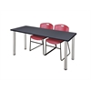 "66"" x 24"" Kee Training Table- Grey/ Chrome & 2 Zeng Stack Chairs- Burgundy"