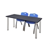 "66"" x 24"" Kee Training Table- Grey/ Chrome & 2 'M' Stack Chairs- Blue"