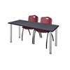 "66"" x 24"" Kee Training Table- Grey/ Chrome & 2 'M' Stack Chairs- Burgundy"
